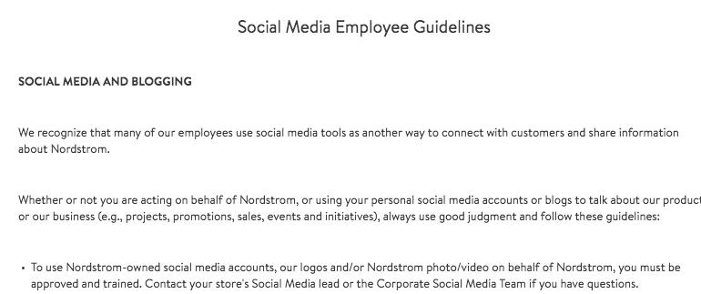 Nordstrom's Social Media Policy