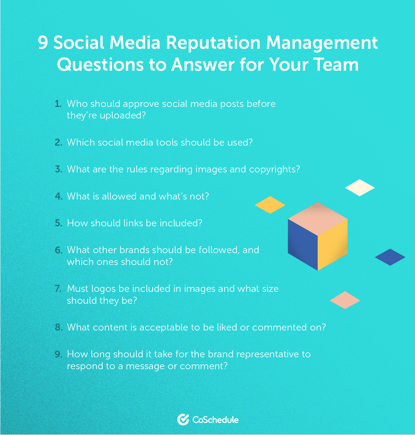 List of 9 questions about social media reputation management