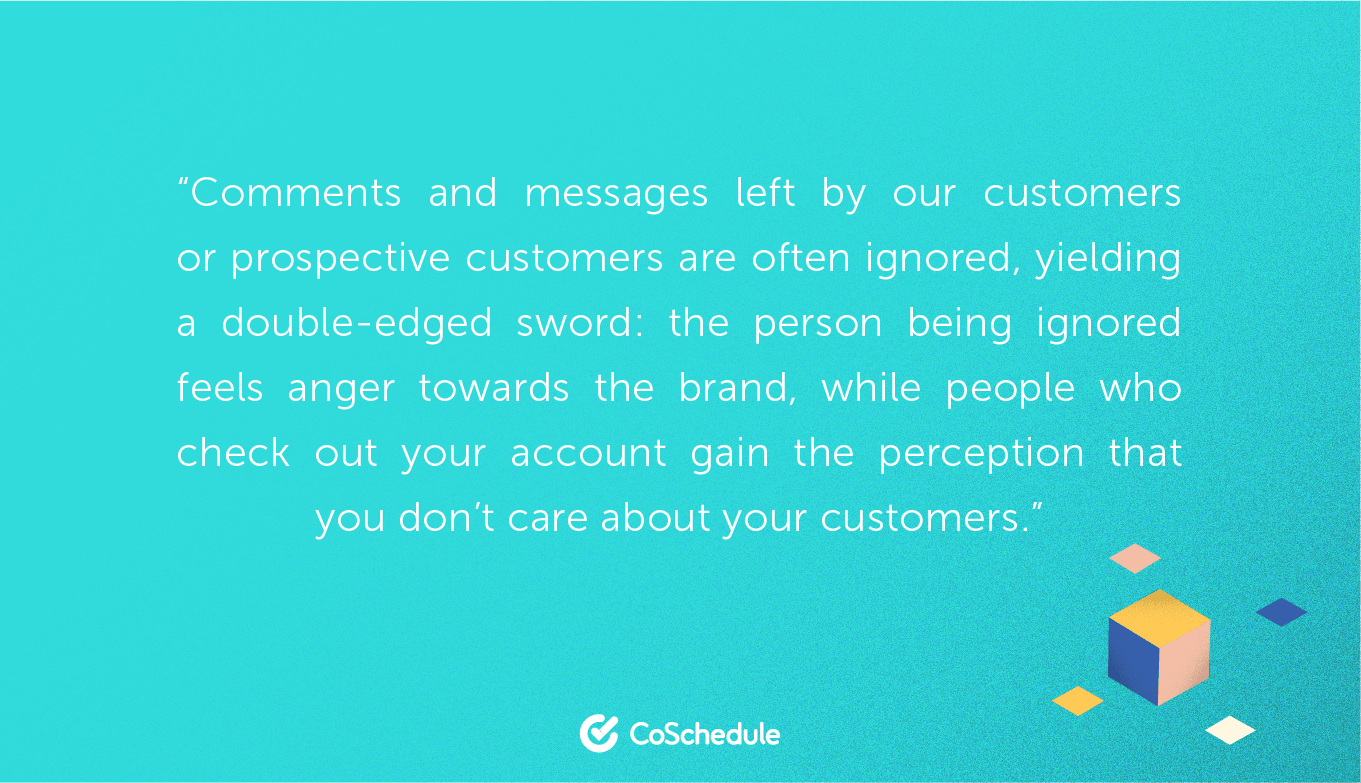 Quote about ignoring your customers on social media and what it does to reputation