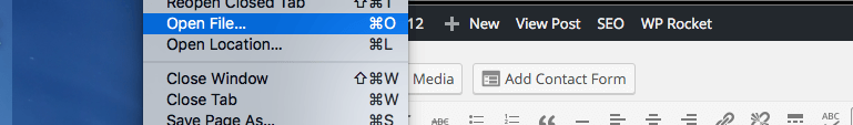 Location of Open File option in Chrome