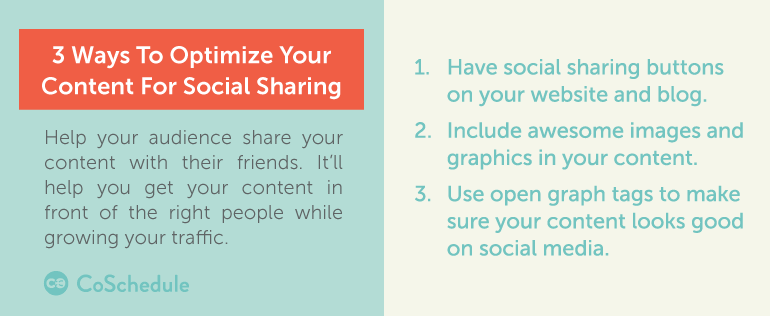 3 ways to optimize your content for social sharing (part of your content marketing promotion strategy)