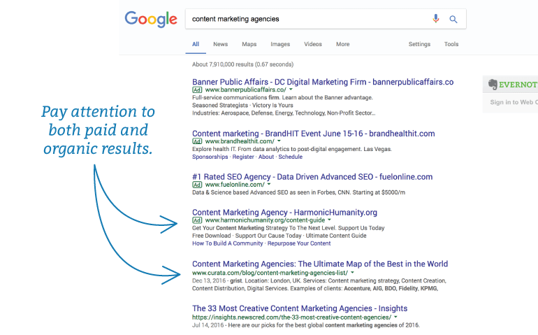 Organic and paid search results in Google