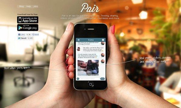 Pair Homepage Screenshot
