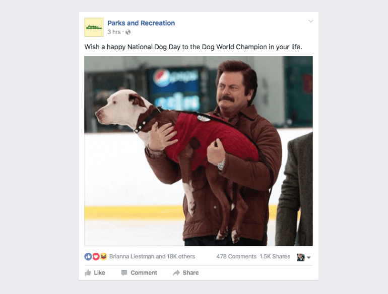 Parks And Recreation's National Dog Day Facebook Post
