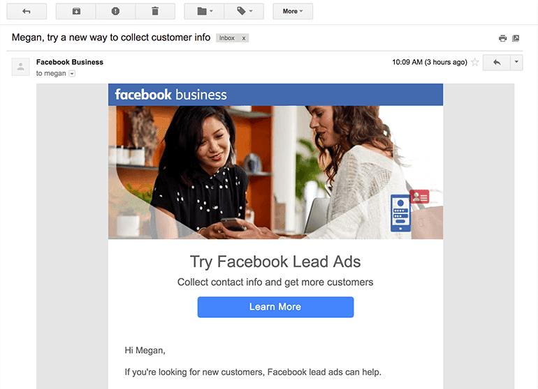 Personalization Example Via Facebook.