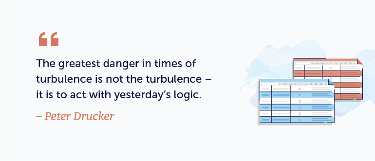 The greatest danger in times of turbulence is not the turbulence - it is to act with yesterday's logic.