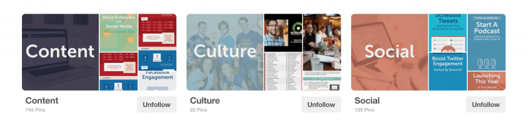Examples of Pinterest board cover photos