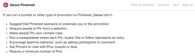 Pinterest contest rules