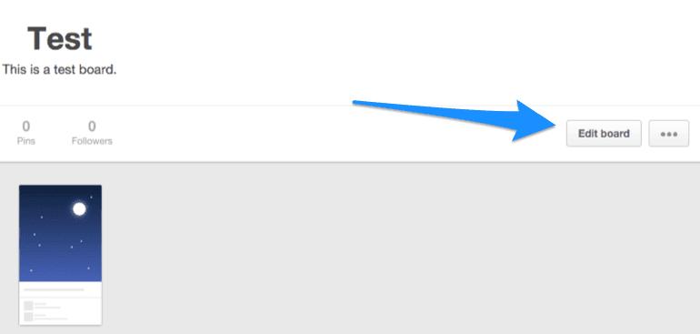 Edit Board button on Pinterest