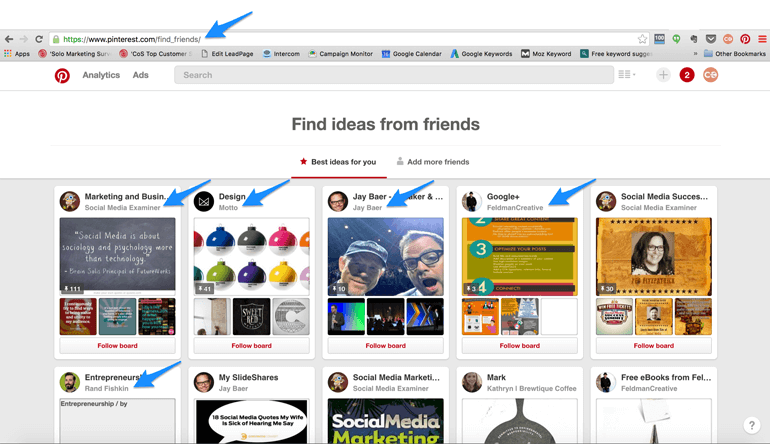 use Pinterest's Find Friends feature to get more followers