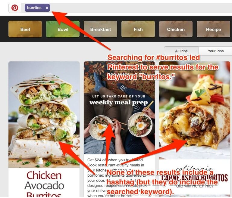 Hashtag search results in Pinterest