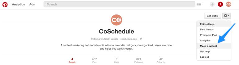 Pinterest's Make a widget feature