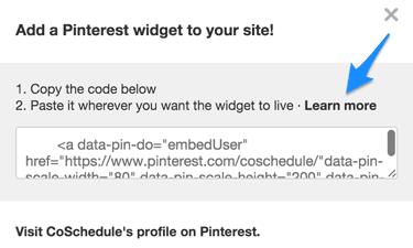 Pinterest's Make a widget popup
