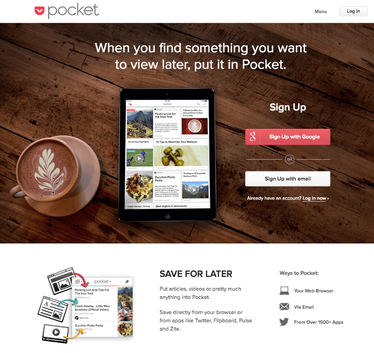 Pocket landing page example