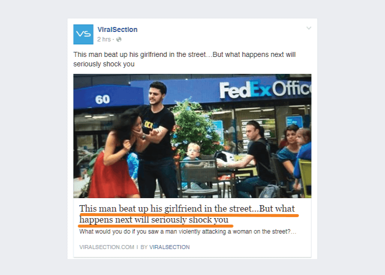 Example of a poor quality click bait Facebook post
