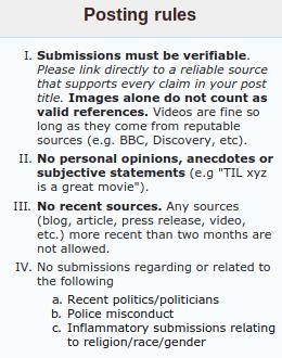 Example of reddit posting rules