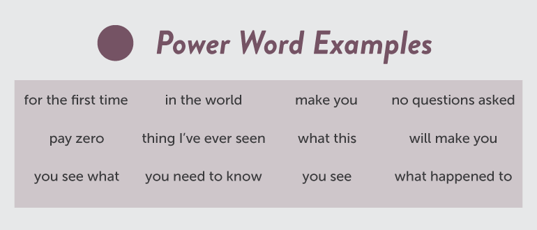 Examples of power words