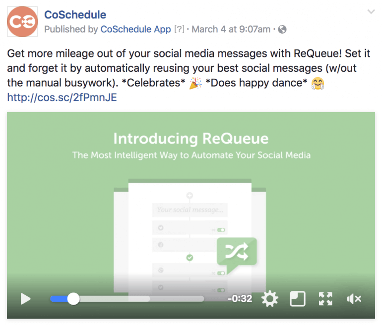 Example of a product video post