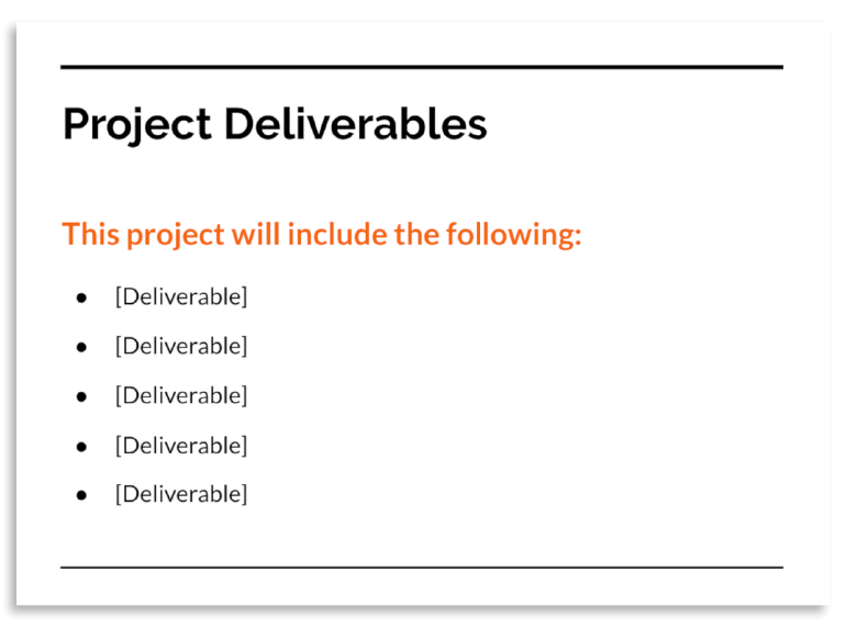 Example of the Project Deliverables slide