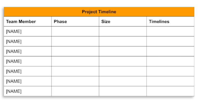 Project Timeline slide example