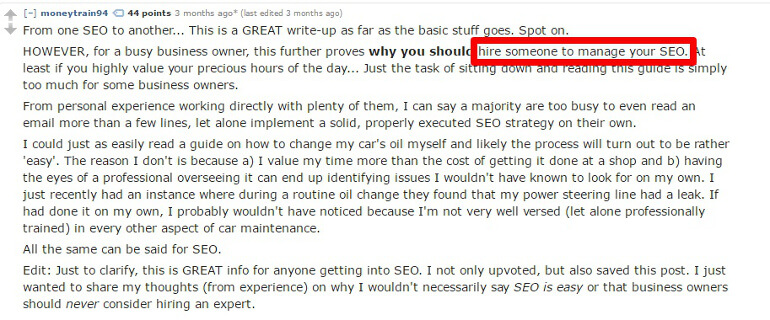 Example of a promising keyword on Reddit