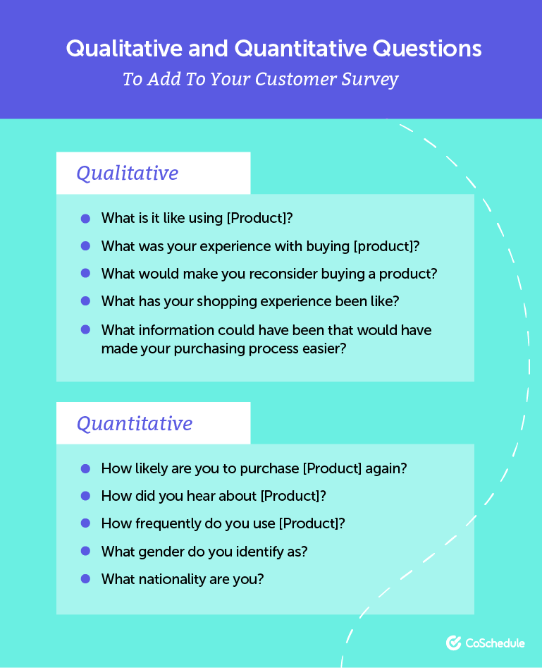 Qualitative and quantitative questions to ask in a customer survey.