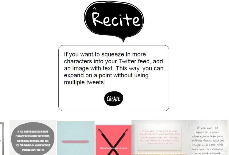 Screenshot from Recite
