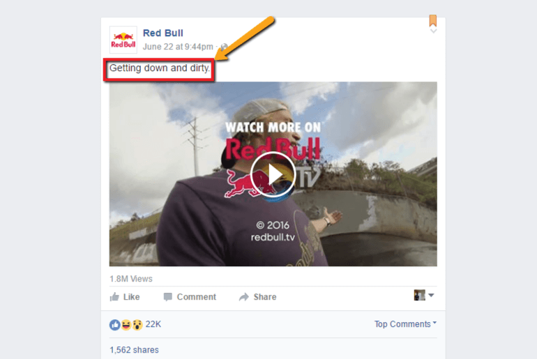 Example of a short Facebook post from Red Bull