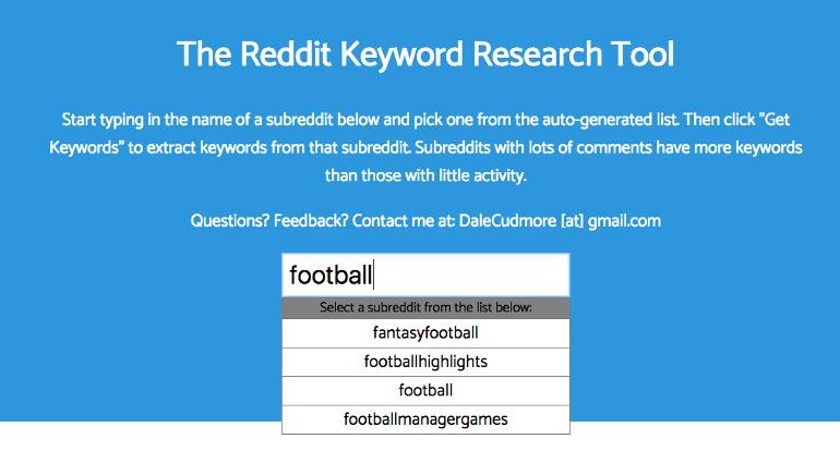 Reddit keyword tool