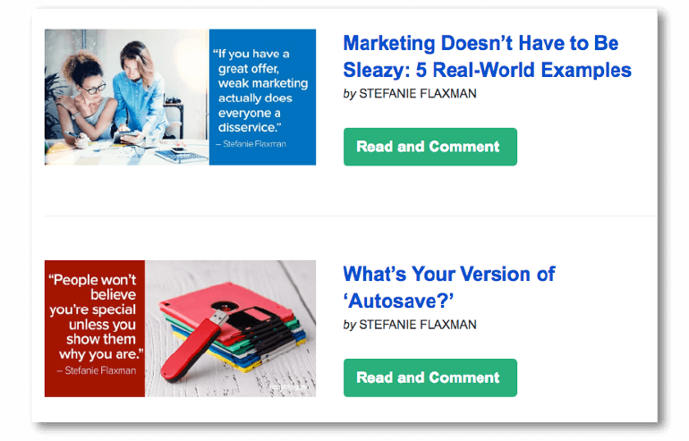 Example of an email using related content
