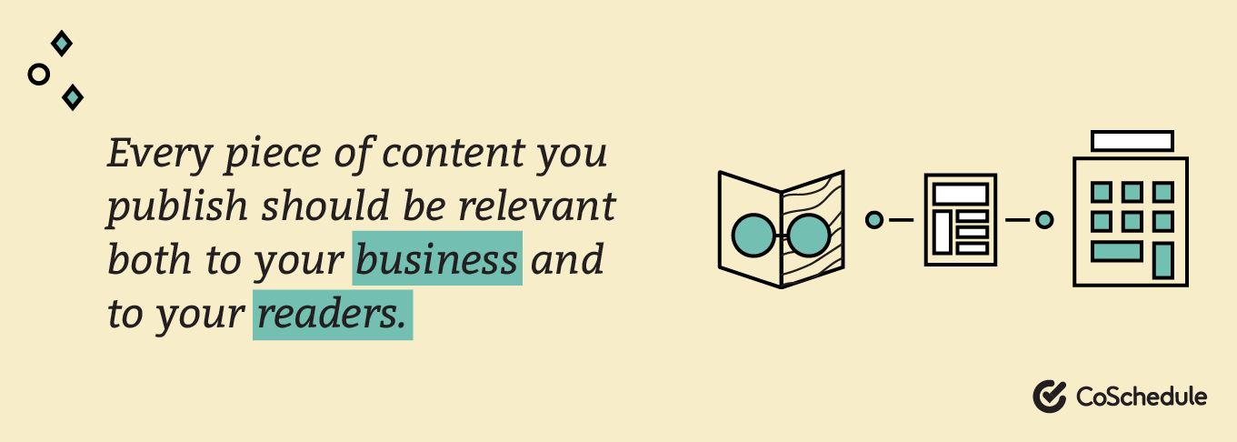Every piece of content you publish should be relevant both to your business and to your readers.