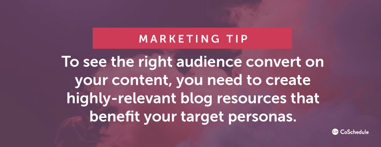 To see the right audience convert on your content, you need to create highly-relevant blog resources ...