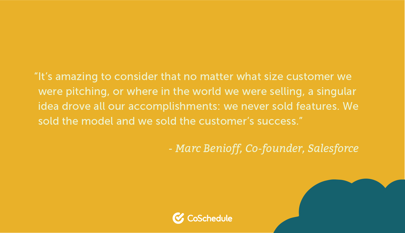 Quote from Salesforce about selling the model and the customer success