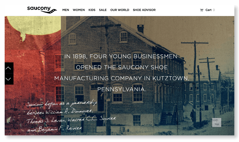 Example of an About Us page from Saucony