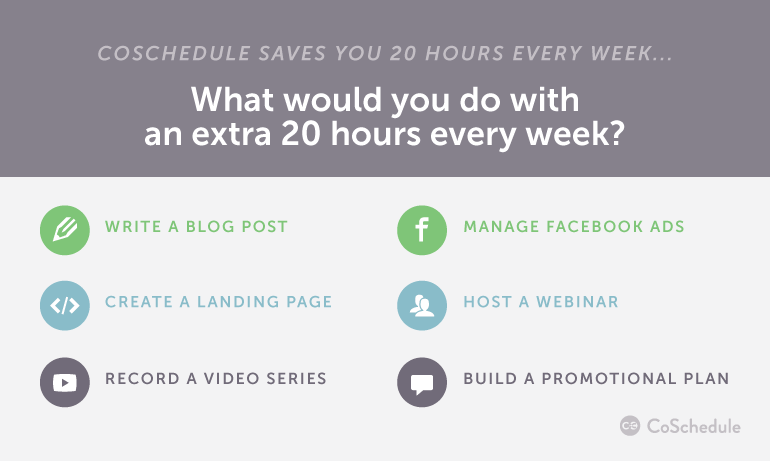 How to Save 20 Hours a Week With CoSchedule
