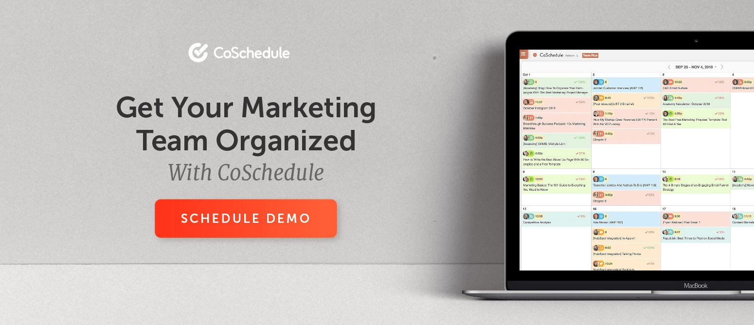 Schedule a demo with CoSchedule
