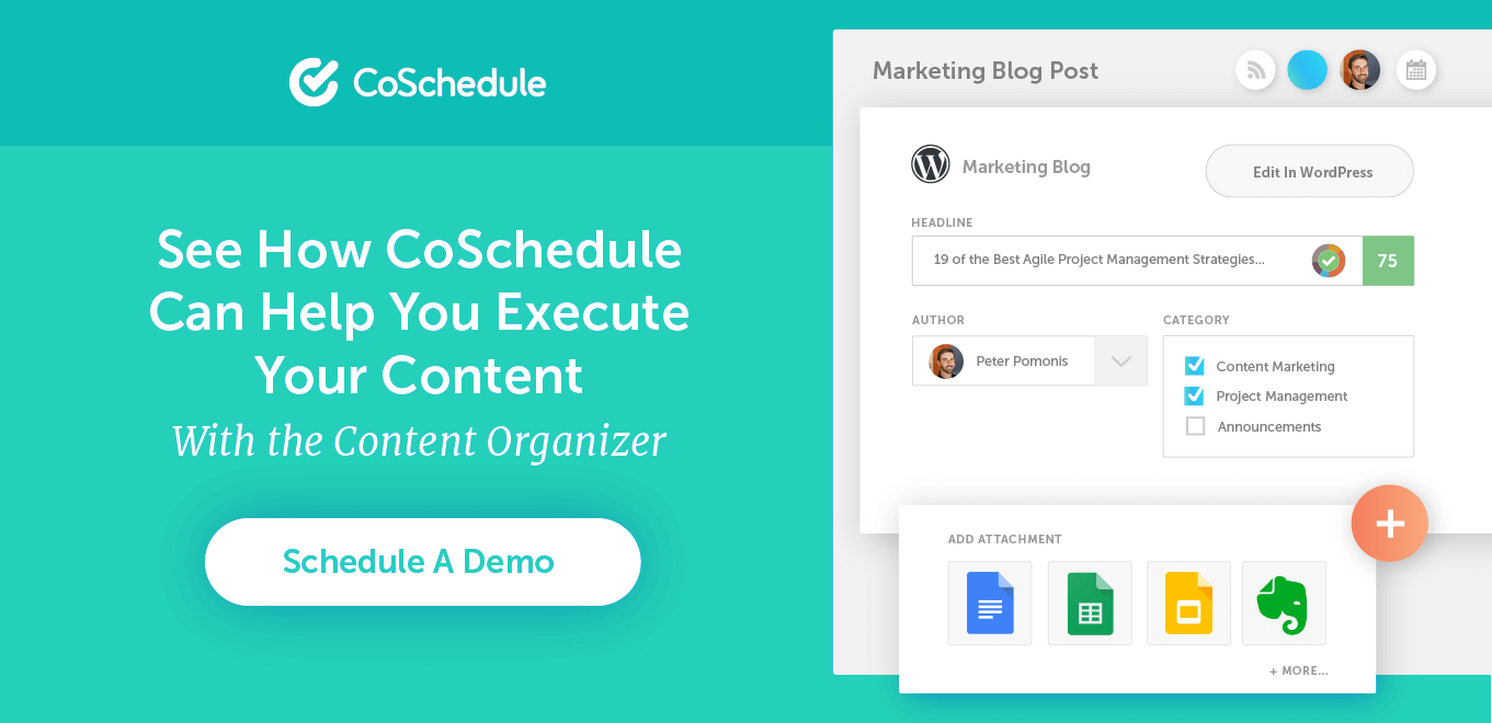 Prompt to schedule a demo with CoSchedule