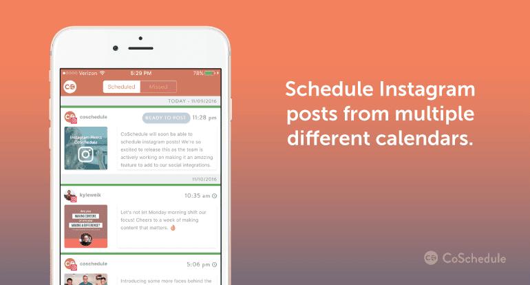 Schedule Instagram posts from multiple calendars