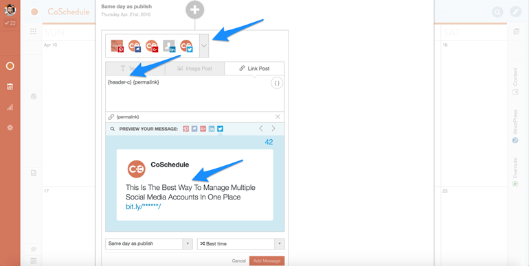 schedule to multiple social media accounts at once with CoSchedule