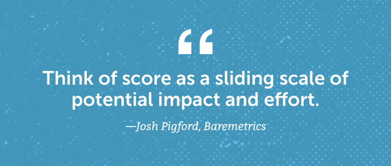 Think of score as a sliding scale of potential impact and effort.