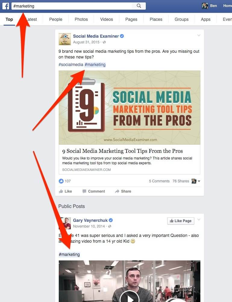 How to search hashtags on Facebook