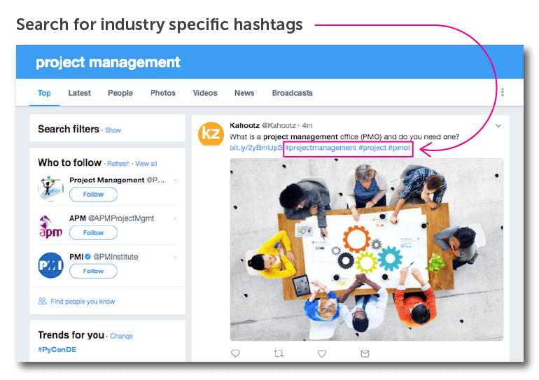 Search for relevant industry-related hashtags.
