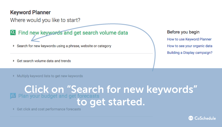Search New Keywords In The Keyword Planner
