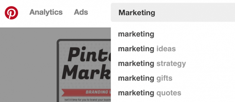 Use the Pinterest search bar to find relevant keywords