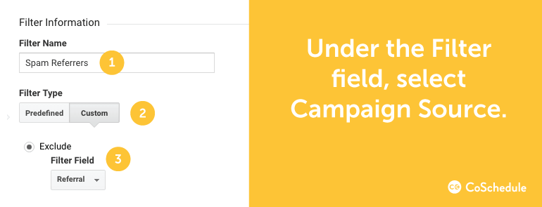 Under the Filter field, select Campaign Source