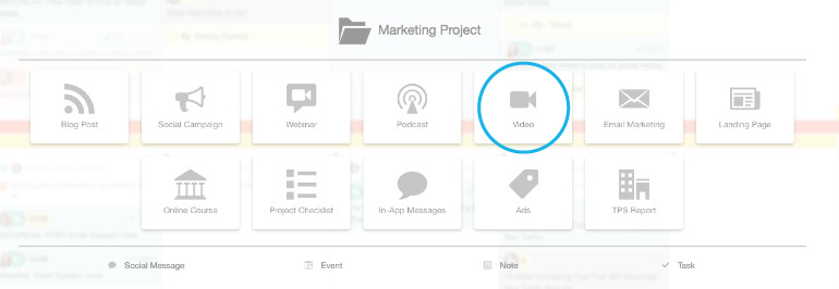 Selecting a video project in CoSchedule