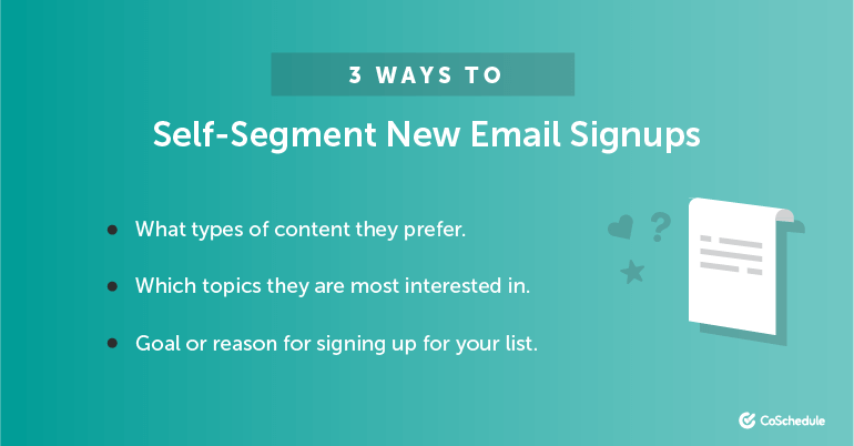 3 Ways to Self Segment Email Signups