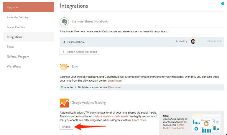 Settings and Integrations in CoSchedule