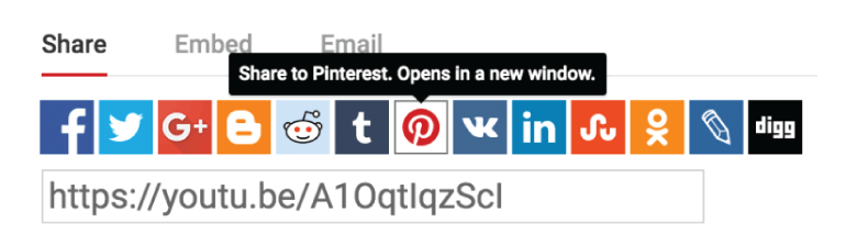 Share YouTube video to Pinterest