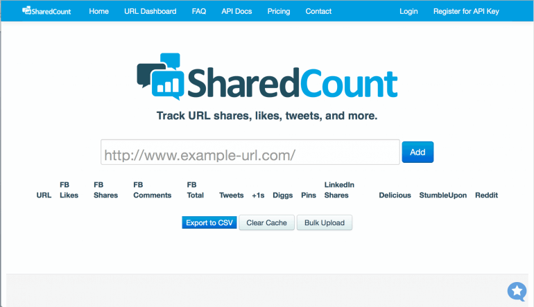 SharedCount social media stats for a content audit template